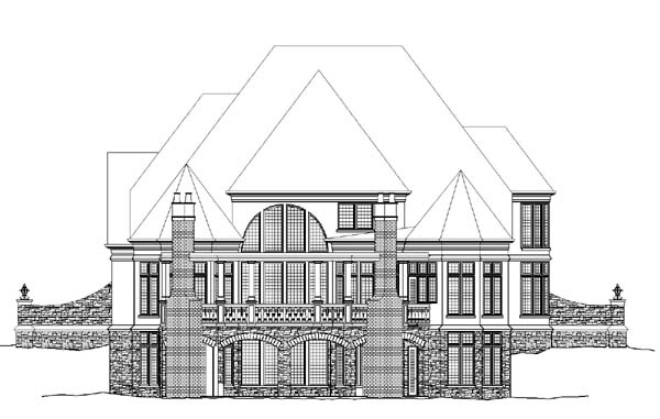 European, Greek Revival House Plan 72009 with 4 Beds, 4 Baths, 3 Car Garage Rear Elevation
