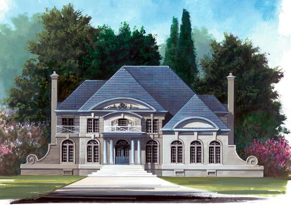 Colonial, European, Greek Revival, Tudor House Plan 72037 with 4 Beds, 3 Baths, 3 Car Garage Elevation