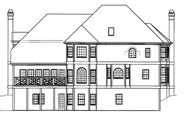 European, Greek Revival House Plan 72046 with 4 Beds, 4 Baths, 2 Car Garage Rear Elevation
