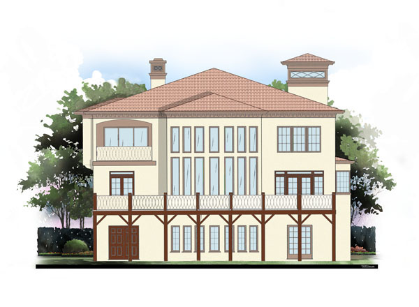 Greek Revival, Mediterranean House Plan 72095 with 4 Beds, 4 Baths, 3 Car Garage Rear Elevation