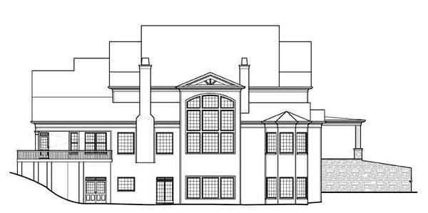 European, Greek Revival House Plan 72117 with 6 Beds, 7 Baths, 3 Car Garage Rear Elevation