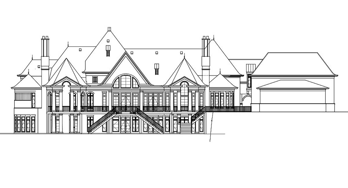 European, Greek Revival House Plan 72126 with 7 Beds, 9 Baths, 5 Car Garage Rear Elevation