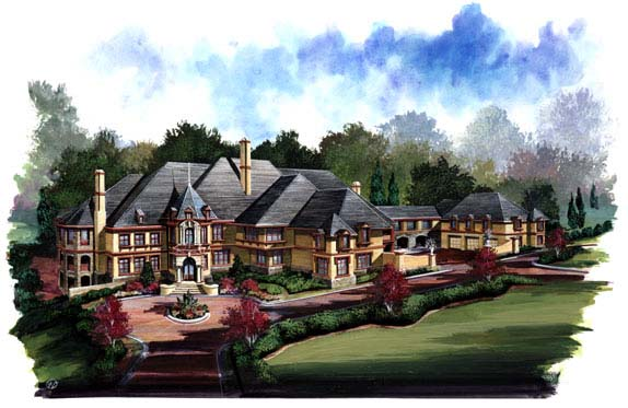 European, Greek Revival House Plan 72128 with 6 Beds, 9 Baths, 5 Car Garage Picture 1