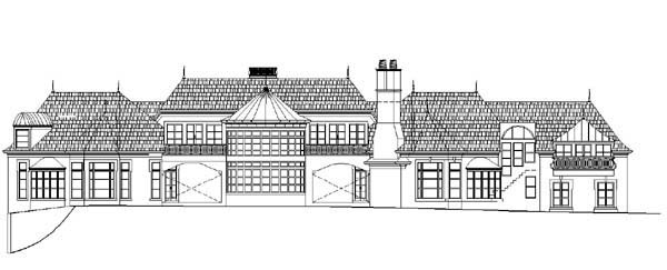 Colonial, Greek Revival House Plan 72131 with 5 Beds, 5 Baths, 4 Car Garage Rear Elevation