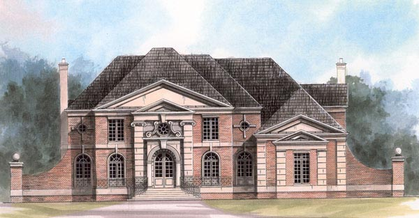 European, Greek Revival House Plan 72132 with 4 Beds, 4 Baths, 3 Car Garage Front Elevation