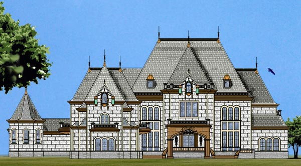 European House Plan 72133 with 6 Beds, 8 Baths, 4 Car Garage Front Elevation
