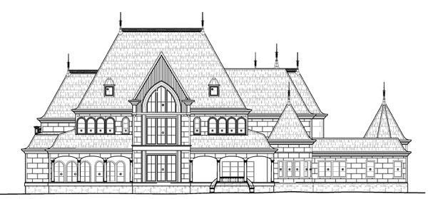 European House Plan 72133 with 6 Beds, 8 Baths, 4 Car Garage Rear Elevation