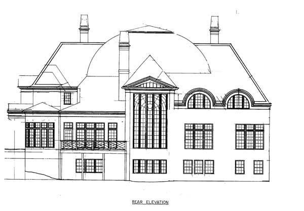Greek Revival House Plan 72134 with 4 Beds, 5 Baths, 3 Car Garage Rear Elevation