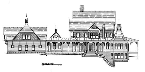Traditional House Plan 72135 with 4 Beds, 6 Baths, 3 Car Garage Rear Elevation