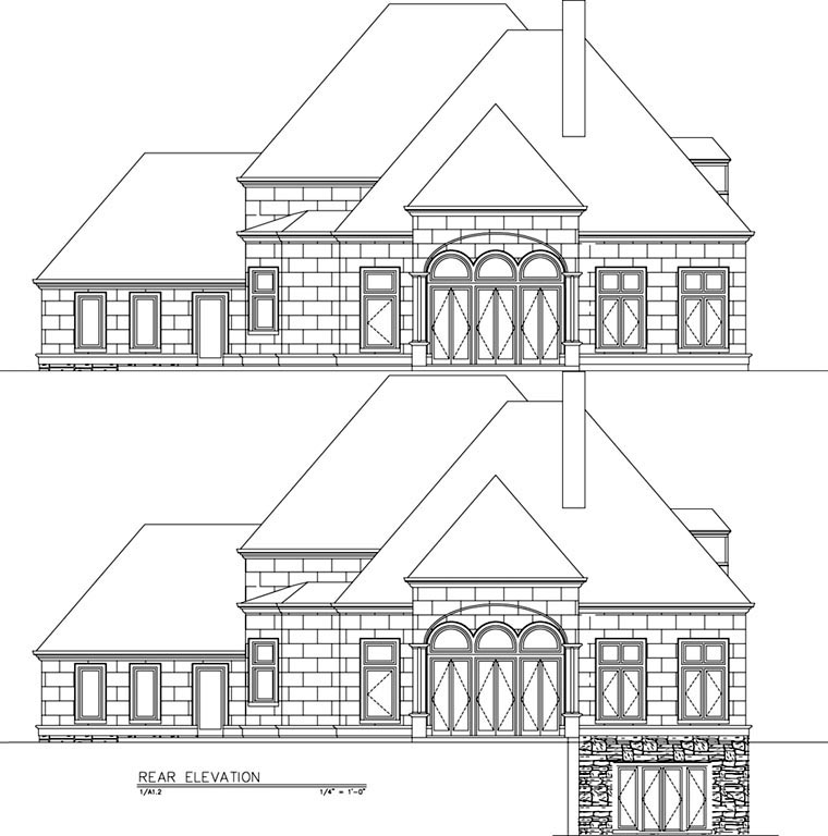 European, Greek Revival House Plan 72153 with 4 Beds, 4 Baths, 3 Car Garage Rear Elevation