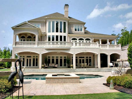 European, Greek Revival House Plan 72155 with 5 Beds, 7 Baths, 4 Car Garage Rear Elevation