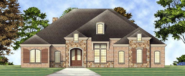 European House Plan 72162 with 3 Beds, 3 Baths, 2 Car Garage Front Elevation