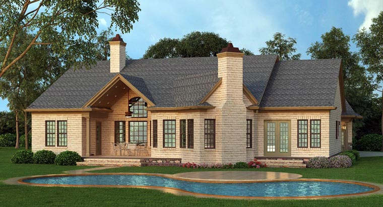Ranch House Plan 72168 with 3 Beds, 3 Baths, 2 Car Garage Rear Elevation