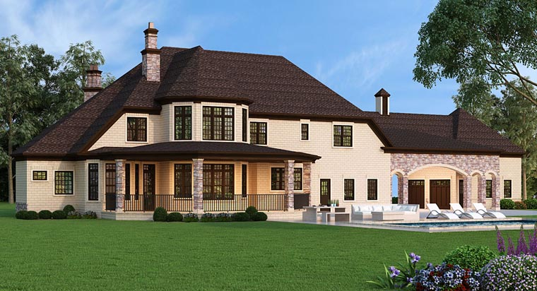 European, French Country House Plan 72226 with 5 Beds, 5 Baths, 5 Car Garage Rear Elevation
