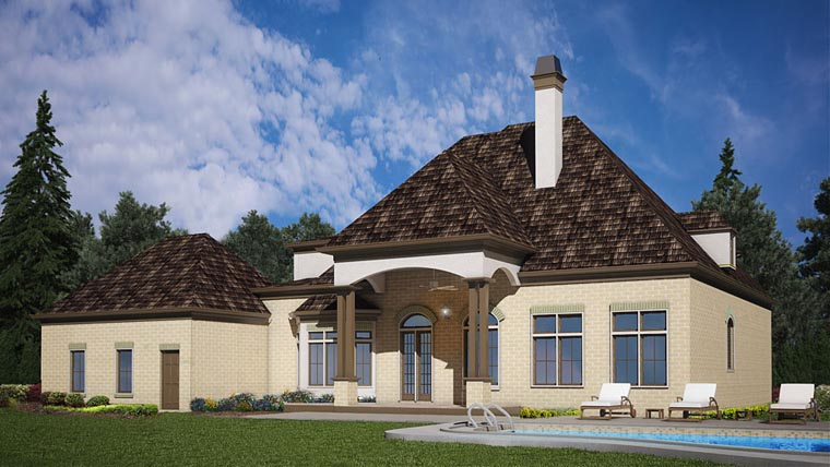 European House Plan 72227 with 4 Beds, 3 Baths, 3 Car Garage Rear Elevation