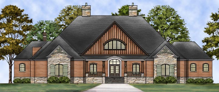 Craftsman, European House Plan 72237 with 3 Beds, 4 Baths, 3 Car Garage Elevation