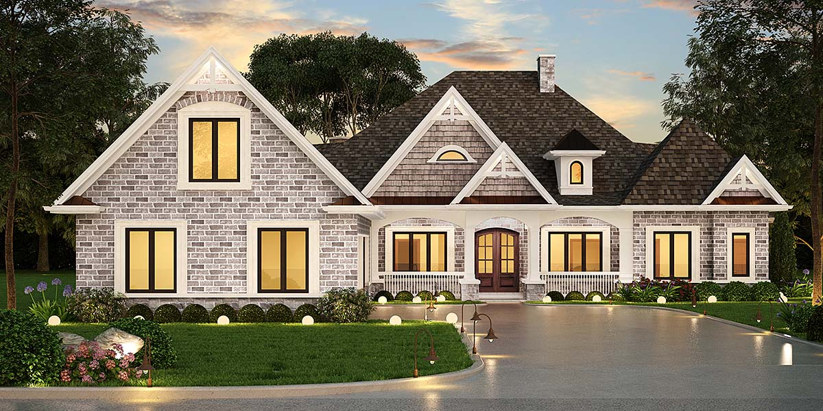 Country, Craftsman, Traditional House Plan 72238 with 3 Beds, 3 Baths, 3 Car Garage Elevation