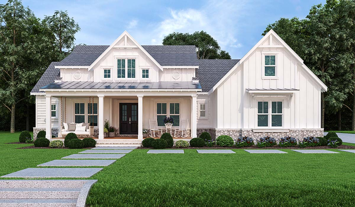 Country, Farmhouse, Modern, One-Story House Plan 72250 with 3 Beds, 4 Baths, 2 Car Garage Elevation