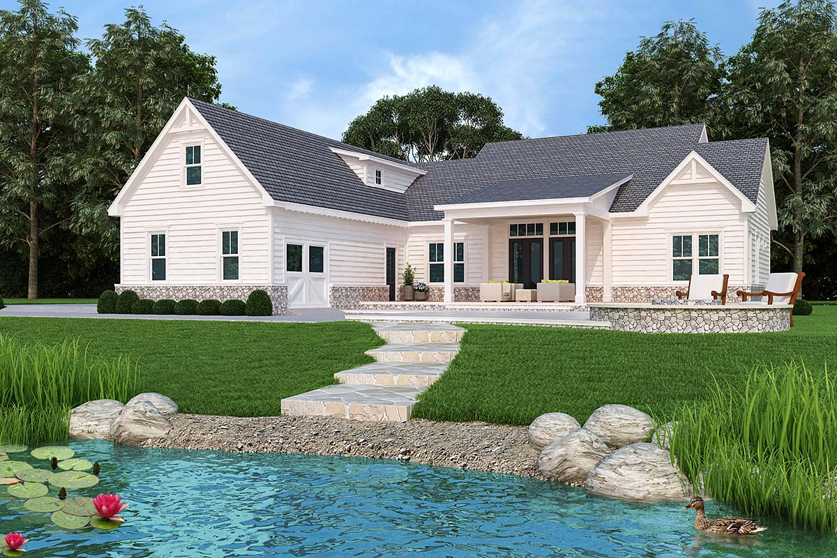 Country, Farmhouse, Modern, One-Story House Plan 72250 with 3 Beds, 4 Baths, 2 Car Garage Rear Elevation