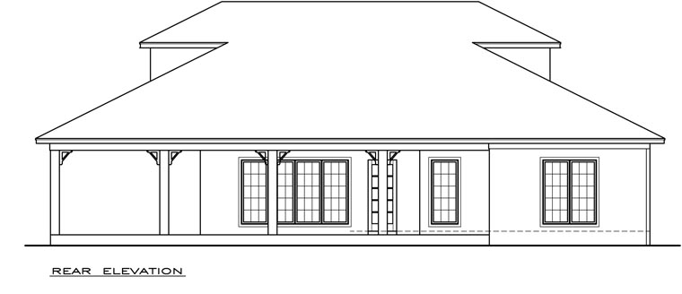 Coastal, Southern House Plan 72306 with 2 Beds, 2 Baths Rear Elevation
