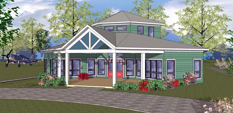 Cabin, Cottage, Southern House Plan 72328 with 2 Beds, 1 Baths Elevation