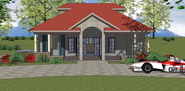 Contemporary, Cottage House Plan 72375 with 1 Beds, 1 Baths Elevation
