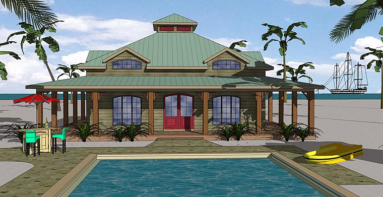 Country, Florida, Southern House Plan 72383 with 3 Beds, 2 Baths Elevation