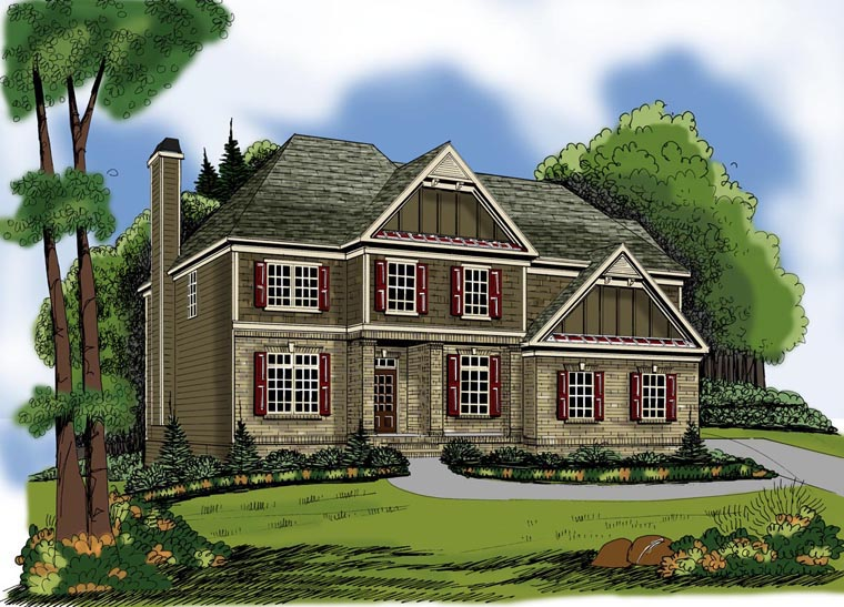 House Plan 72647 with 4 Beds, 3 Baths, 2 Car Garage Elevation