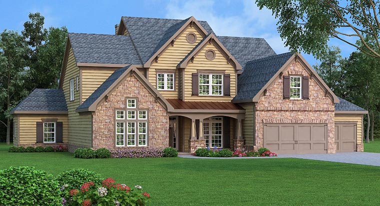 Craftsman, Southern, Traditional House Plan 72658 with 4 Beds, 6 Baths, 3 Car Garage Elevation