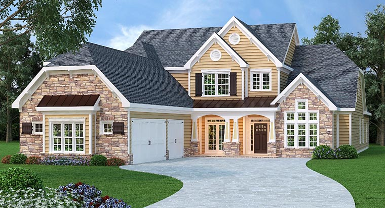 Traditional House Plan 72673 with 4 Beds, 6 Baths, 3 Car Garage Elevation