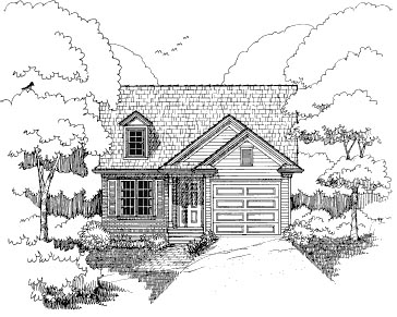 Bungalow House Plan 72707 with 2 Beds, 2 Baths, 1 Car Garage Front Elevation
