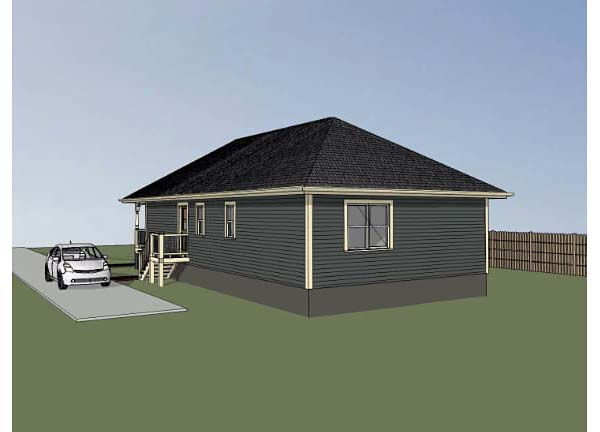 Bungalow House Plan 72708 with 3 Beds, 2 Baths Rear Elevation