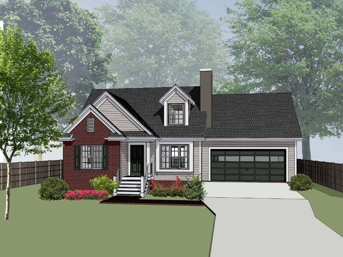 Bungalow House Plan 72726 with 3 Beds, 3 Baths, 2 Car Garage Front Elevation