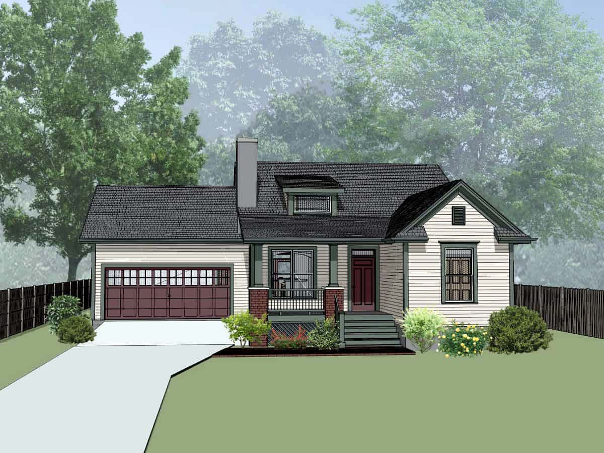 Bungalow House Plan 72728 with 3 Beds, 2 Baths, 2 Car Garage Elevation