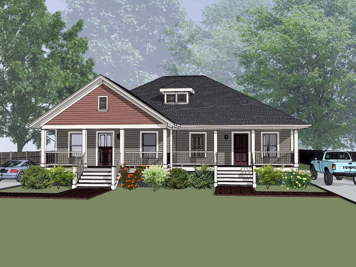 Bungalow Multi-Family Plan 72782 with 4 Beds, 2 Baths Elevation