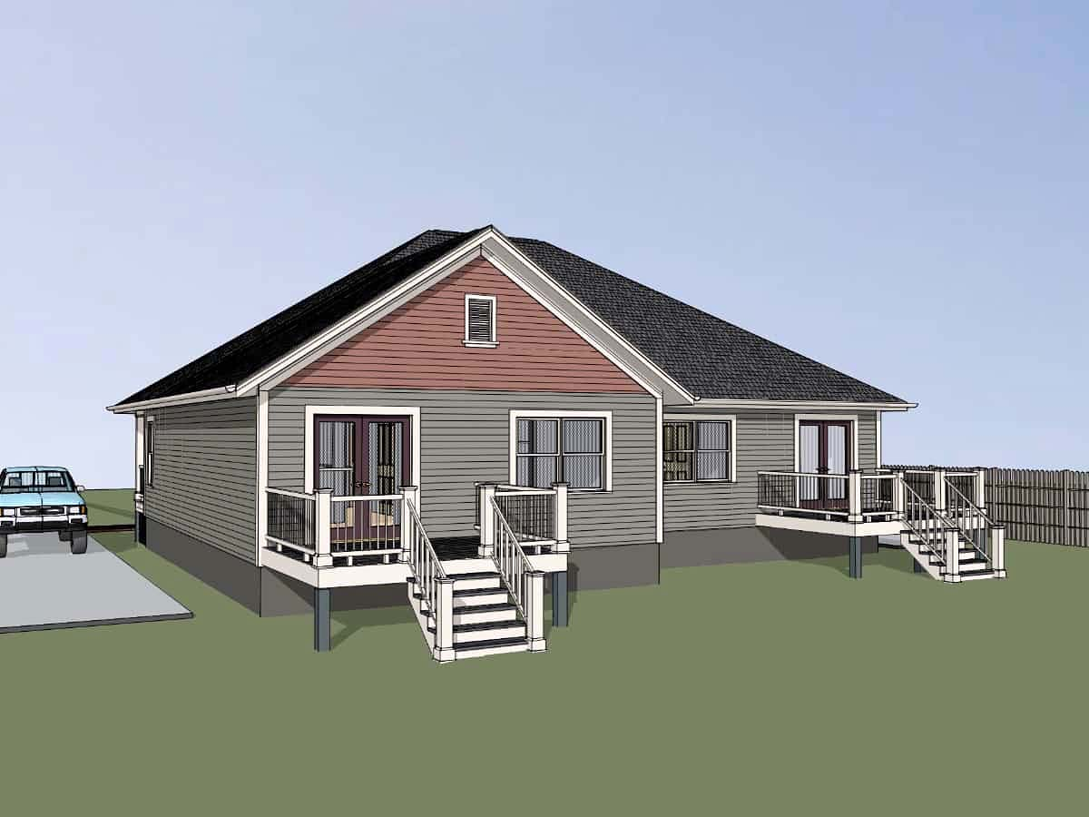 Bungalow Multi-Family Plan 72782 with 4 Beds, 2 Baths Picture 1