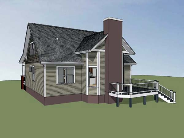 Bungalow, Craftsman House Plan 72798 with 3 Beds, 3 Baths Rear Elevation