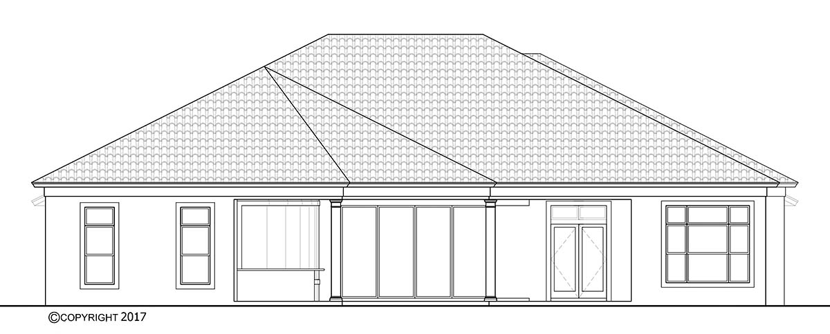 Coastal, Florida, Mediterranean House Plan 72807 with 4 Beds, 5 Baths, 4 Car Garage Rear Elevation