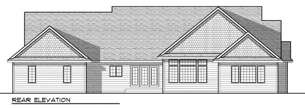 Country, Craftsman, Farmhouse, One-Story, Ranch House Plan 72908 with 3 Beds, 3 Baths, 3 Car Garage Rear Elevation