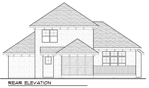 Mediterranean House Plan 72930 with 3 Beds, 3 Baths, 3 Car Garage Rear Elevation