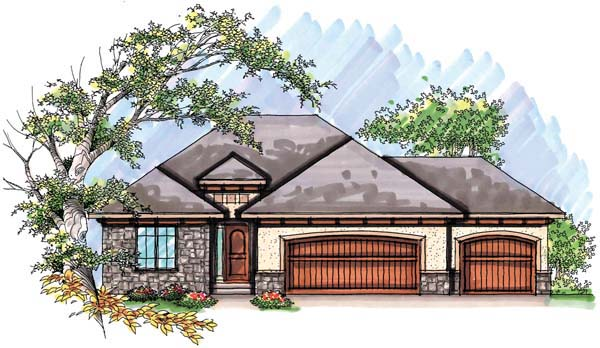 Mediterranean, One-Story, Ranch House Plan 72944 with 2 Beds, 2 Baths, 3 Car Garage Front Elevation