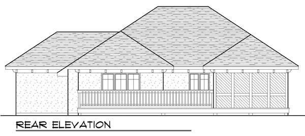 Mediterranean, One-Story, Ranch House Plan 72944 with 2 Beds, 2 Baths, 3 Car Garage Rear Elevation
