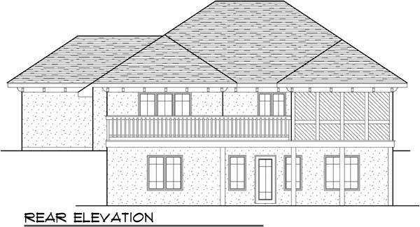 Coastal, Mediterranean, One-Story, Ranch House Plan 72945 with 4 Beds, 3 Baths, 3 Car Garage Rear Elevation