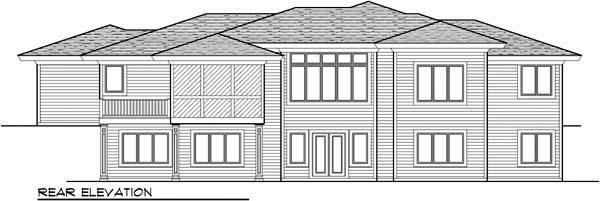 Prairie, Southwest House Plan 72962 with 5 Beds, 4 Baths, 3 Car Garage Rear Elevation