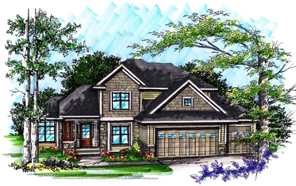Craftsman, Traditional House Plan 72990 with 4 Beds, 3 Baths, 3 Car Garage Elevation