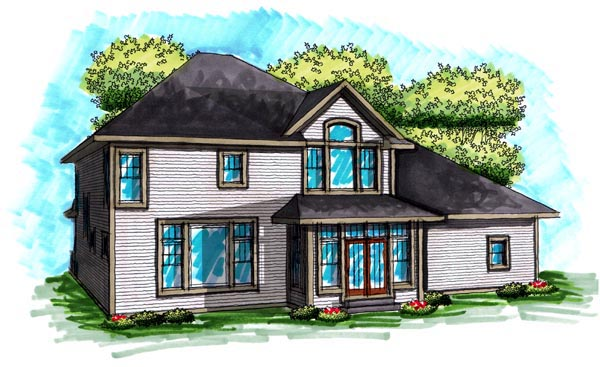 Traditional House Plan 72995 with 4 Beds, 4 Baths, 3 Car Garage Rear Elevation