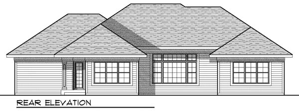 European House Plan 73007 with 3 Beds, 3 Baths, 3 Car Garage Rear Elevation