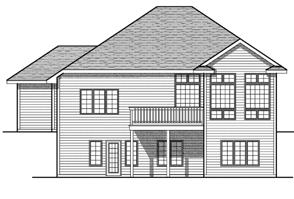 One-Story House Plan 73085 with 4 Beds, 3 Baths, 3 Car Garage Rear Elevation