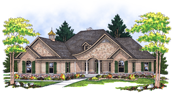 European House Plan 73116 with 5 Beds, 4 Baths, 3 Car Garage Elevation