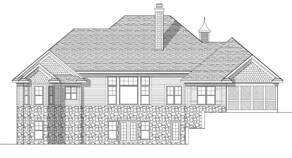 European House Plan 73116 with 5 Beds, 4 Baths, 3 Car Garage Rear Elevation